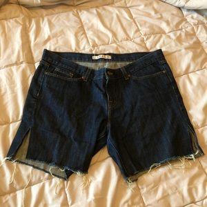 Dark wash cut off denim shorts